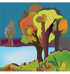 Autumn lake background with trees vector