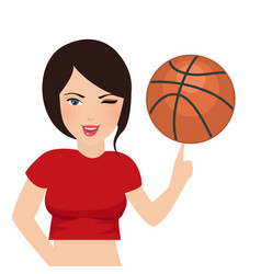 Basket ball hold by beautifull girl woman sport vector