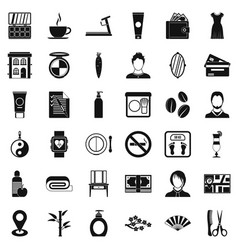 Beauty salon icons set simple style vector