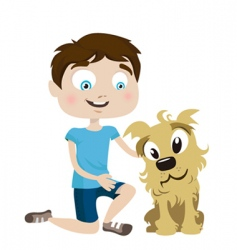boy with dog vector image vector image