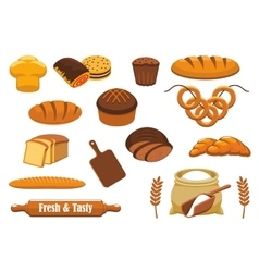 Bread and bun icon set for bakery food design vector image vector image