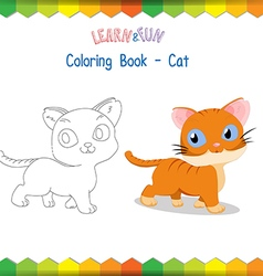 Cat coloring book educational game vector image