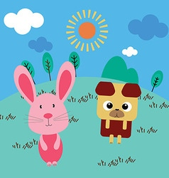 Catoon rabbit and dog vector