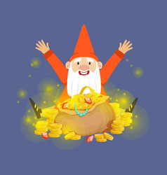 cute happy dwarf sitting on a gold treasures vector image vector image