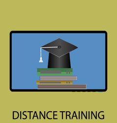 Distance training icon flat design vector