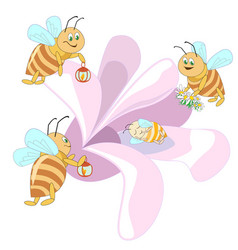 Family of bees flying to a pink flower vector