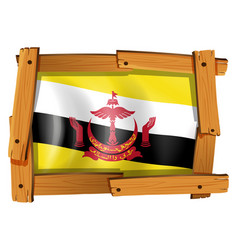 Flag of brunei in wooden frame vector