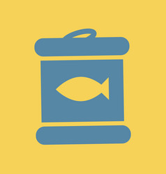 Flat icon canned tuna fish vector
