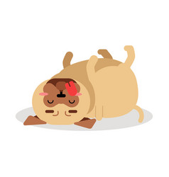 Funny pug dog character lying on its back vector