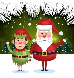 greeting card christmas santa elf green background vector image vector image