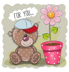 Greeting card teddy bear with a flower vector