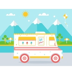 Ice Cream Truck agains Beach Landscape vector image
