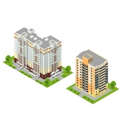 Isometric flat 3d town buildings vector image vector image
