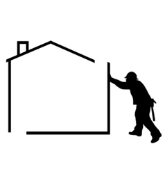 man building a house vector image vector image