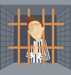 Man in jail cartoon vector