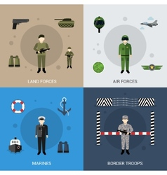 Military flat set vector
