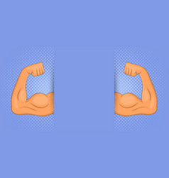 Muscle banner horizontal man cartoon style vector