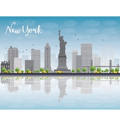 New york city skyline with grey buildings vector