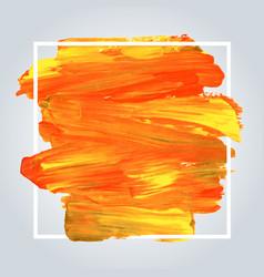 orange acrylic background with white frame vector image