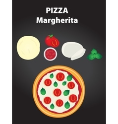 Pizza margherita with ingredients vector