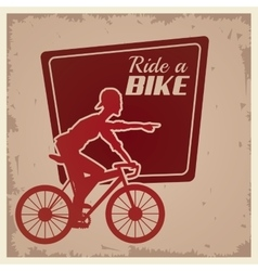 Poster vintage ride a bike cyclist silhouette vector