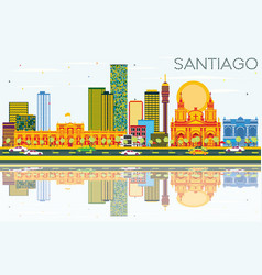Santiago chile skyline with color buildings blue vector