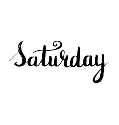 saturday lettering postcard ink vector image vector image