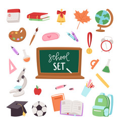 school supplies symbols isolated equipment vector image vector image