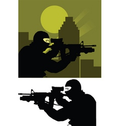 sniper police vector image vector image