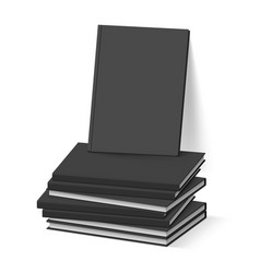 Stack of blank black books on white business vector