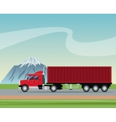 Truck trailer container delivery transport road vector