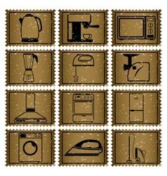 Twelve retro icons vector image
