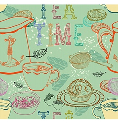 Vintage tea background vector image vector image