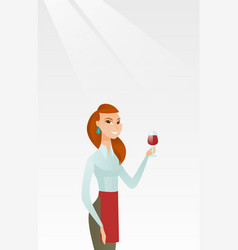 Waitress holding a glass of wine in hand vector
