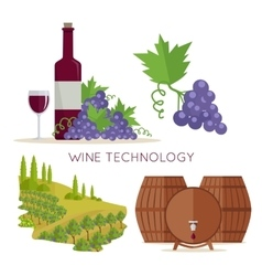Wine technology bottle of vine beaker vineyard vector