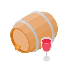 Wooden barrel of wine with a tap isometric 3d icon vector image vector image