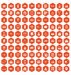 100 private property icons hexagon orange vector image vector image