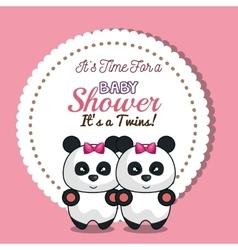 invitation twins girl panda baby shower card vector image