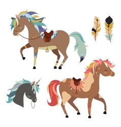 Tribal horses clipart vector