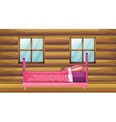 Pink bed in wooden room vector image