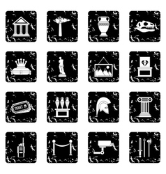 Museum set icons grunge style vector