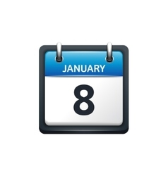 January 8 calendar icon flat vector