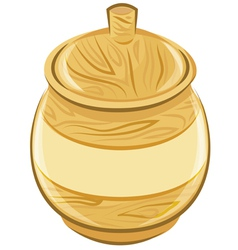 Wooden pot with a lid vector