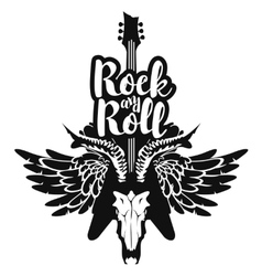 Electric guitar and skull wings with rock and roll vector