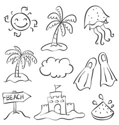 Hand draw summer object doodles vector