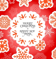 Red christmas greeting card with snowflakes vector