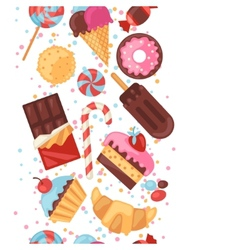 Seamless pattern colorful various candy sweets and vector