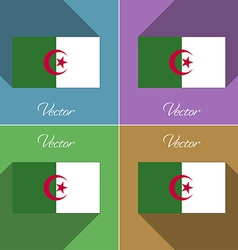 Flags algeria set of colors flat design and long vector