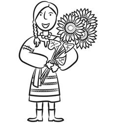 Ukrainian Girl With Sunflowers vector image