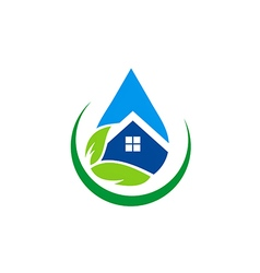 Eco house water drop realty logo vector